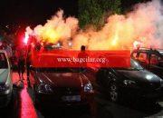 Kayseri'de açık havada araçta maç keyfi